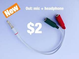 Audio splitter (3.5mm to mic + headphone)