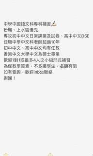 中學中文科專科補習、初中及DSE