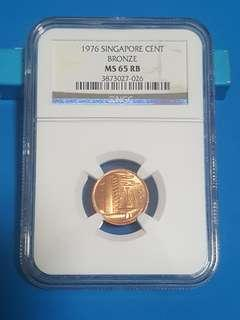 RARE 1976 SINGAPORE 1 CENT BRONZE, NGC MS65RB