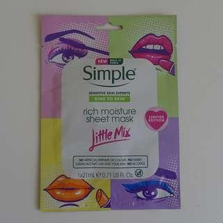 Simple x Little Mix Rich Moisture Sheet Mask 1pc