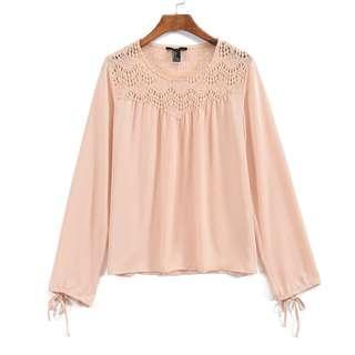 f21 crochet panel shoulder blouson in blush