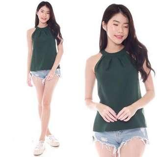 Teagan Halter Top in Forest Green INSTOCK