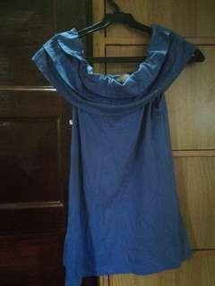 Plains&Prints blue off shoulder top