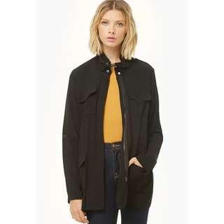 f21 lightweight longline utility parka jacket in black