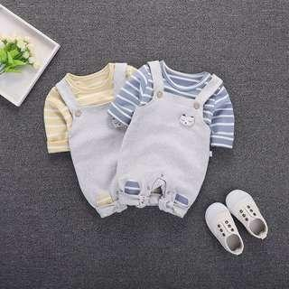 🚚 2pcs Strips Shirt with Bear Design Suspender for Baby & Toddler Boy (NCR 028)