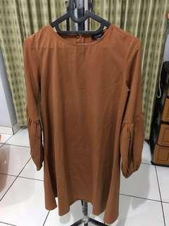 Dress bell sleeve coklat #bersihbersih