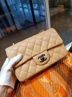 New Chanel mini rectangle beige lambskin shw#27