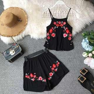 Pre-Order Floral Embroidery Playsuit (2 Piece Set)