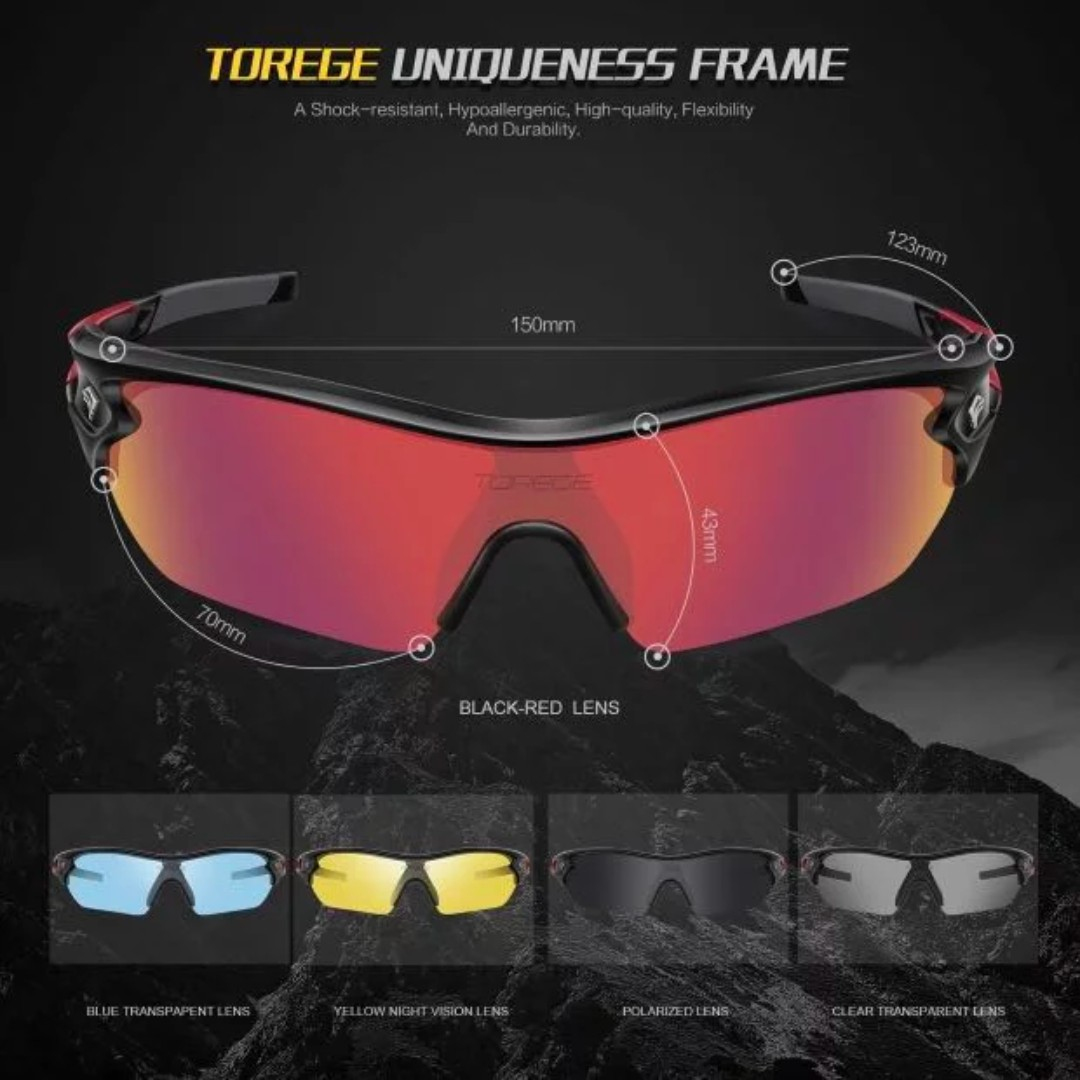 b66037e036a 1620 TOREGE Polarized Sports Sunglasses with 5 Interchangeable Lenes for Men  Women Cycling Running Driving Fishing Golf Baseball Glasses TR002