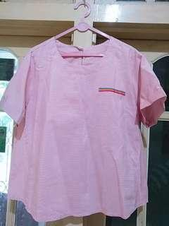 atasan strip pink