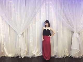 Long dinner dress (wine red) S