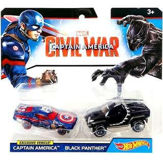 Hot Wheels Exclusive Vehicles ! Captain America & Black Panther 2 Pack Marvel Captain America Civil War Hotwheels Character Cars MISB