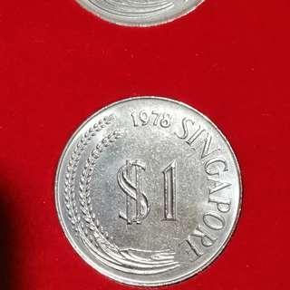 1978 Singapore $1 Merlion Coin - Very Rare
