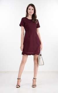 Keeva Scallop Dress in Berry