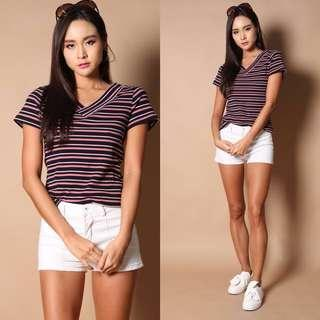 Edna Striped Knit Top in Pink (Size XS)