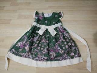 Laura Ashley Girls Green & Cream Paisley Print Dress