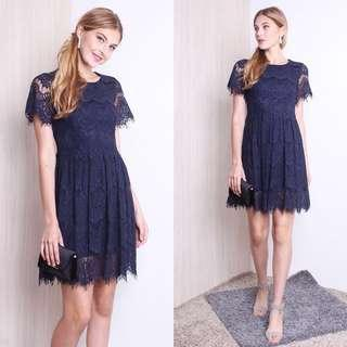 CHARA EYELASH LACE RAW HEM DRESS IN NAVY BLUE (SMALL)