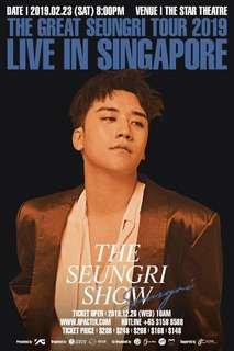 WTB Front Row Section B The Great Seungri in Singapore