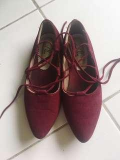 Ballerina Shoes Bludru Maroon