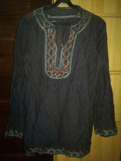 Mags dark brown bohem top with embroidery