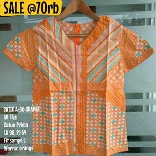 SALE [NEW] BLOUSE BATIK WANITA A-36 ORANGE