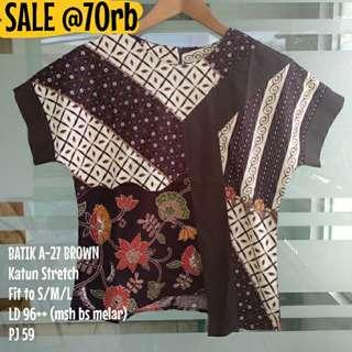 SALE [NEW] BLOUSE BATIK WANITA A-27 BROWN