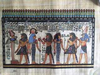 Egyptian hand painted scroll
