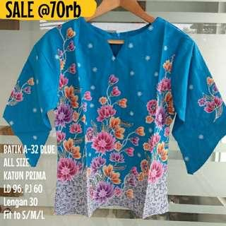 SALE [NEW] BLOUSE BATIK WANITA A-32 BLUE
