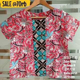 SALE [NEW] BLOUSE BATIK WANITA A-41 RED