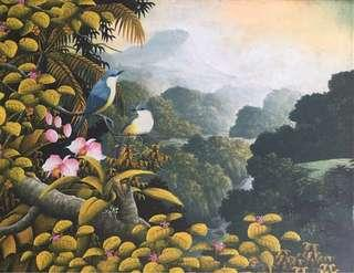 Painting of birds and flowers in a forest