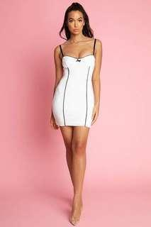 Meshki White Bodycon Mini Dress - Charlotte Bow