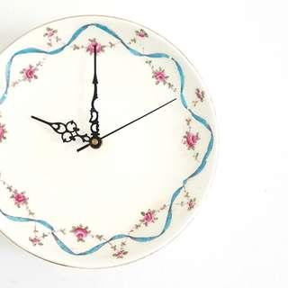 Handmade wall clock, antique English bone china, hand-decorated enamelled blue ribbon and rose swag