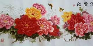 Finished cross stitch ~ peonies flower