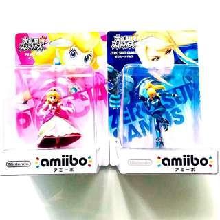 Nintendo Amiibo Peach, Zero Suit Samus Super Smash Bros.Series Figure MISB