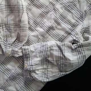 basic white grid long sleeve top
