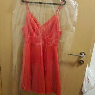 H&M Thick Satin Orange Party Dress
