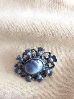 Genuine silver brooch with gemstone