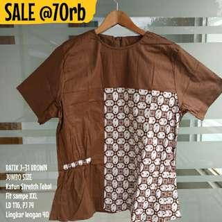 SALE [NEW] BLOUSE BATIK WANITA J-31 BROWN