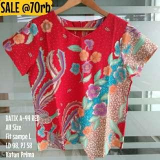 [NEW] BLOUSE BATIK WANITA A-44 RED