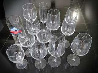 Assortment of wine, champagne and beer glasses
