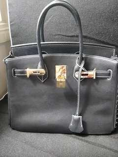 Birkin style hand bag with studs