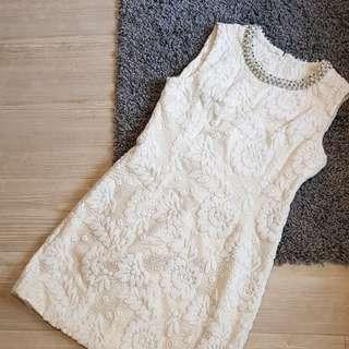 White Gold 3D Lace Dress