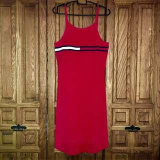 Vintage Tommy Jeans Hilfiger Logo Red Dress