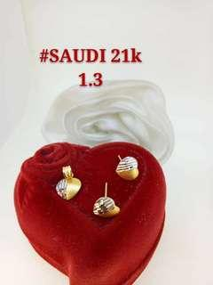 21K Saudi Gold 1.3Grams Pendant and Earrings Set 3 Designs Available