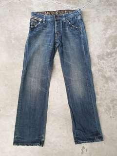 G-Star denim straight cut studded button fly jeans
