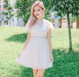 •PO• Theren Lace Crotchet Dress in Pink White Navy