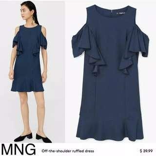 Mango Navy Ruffle Dress Off Shoulder Dress Cut Shoulder Dress