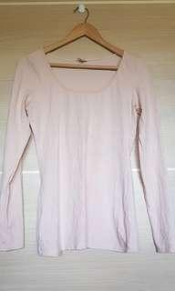 Baby pink stretchy long sleeve top