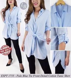 Esprit Pale Blue Front Detail Cotton Tunic Shirt