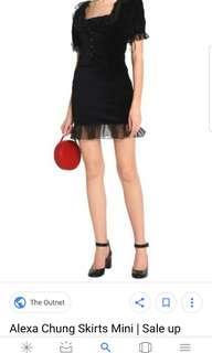 RTP$400 Alexa Chung Velvet Ruffle Organza Mini Skirt